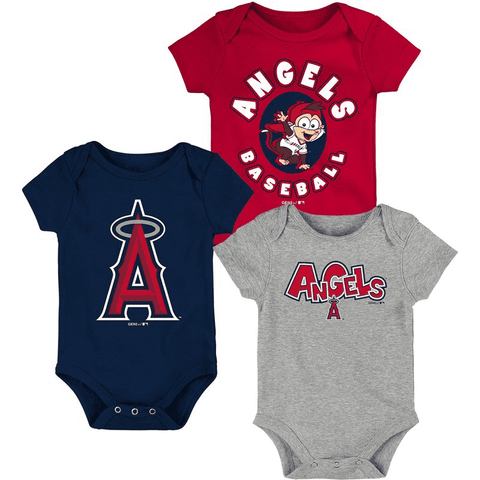 Angels Newborn & Infant Navy/Red/Heathered Gray Everyday Fan Three-Pack Bodysuit Set