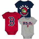 Red Sox Newborn & Infant Navy/Red/Heathered Gray Everyday Fan Three-Pack Bodysuit Set