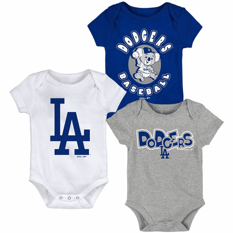 Dodgers Newborn & Infant Blue/White/Heathered Gray Everyday Fan Three-Pack Bodysuit Set