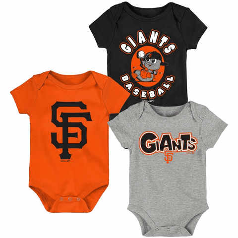 San Francisco Giants Newborn & Infant Black/Orange/Heathered Gray Everyday Fan Three-Pack Bodysuit Set