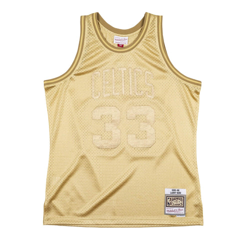 Celtics Larry Bird 1985-86 Swingman Jersey - All Gold