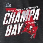 Tampa Bay Buccaneers Super Bowl LV Champions Hometown Champa Bay Space Dye T-Shirt - Charcoal