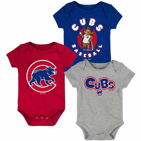 Chicago Cubs Newborn & Infant Royal/Red/Heathered Gray Everyday Fan Three-Pack Bodysuit Set