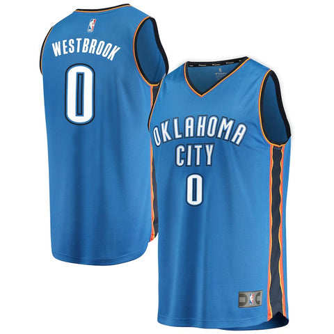 Thunder Russell Westbrook #0 Fast Break Jersey - Blue