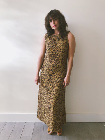 Leopard Print Full Length Dress