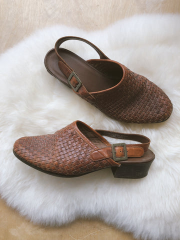 Woven Leather Mule Slingbacks