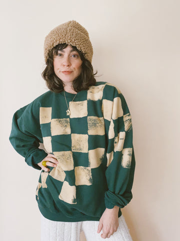 Batch NO. 21 - Checked Evergreen Slouch Crew Sweatshirt