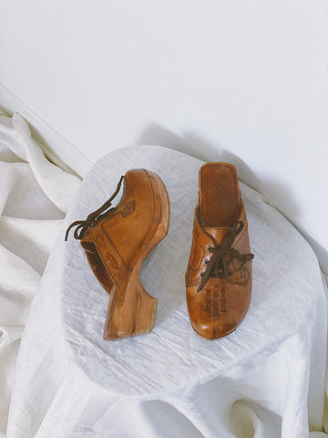 The Lace Up Leather Clog