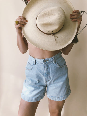 High Rise Light Wash Denim Shorts