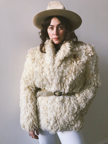Cream Vintage Mongolian Sheepskin Curly Hair Coat