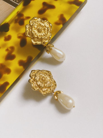 The Floral Pearl Drop Earrings