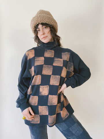 Batch NO. 23 - Faded Black Checkered Turtleneck