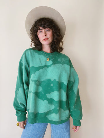 Batch NO. 19 - Grass Green Clouds Crewneck Sweatshirt