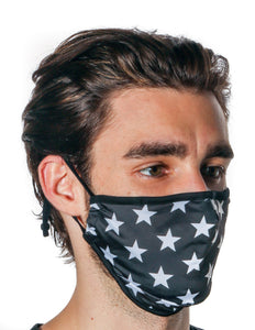 18088: FYDELITY- Premium Protective Fabric Face Covering Mask: Black Star