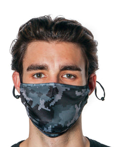 18101: FYDELITY- Premium Protective Fabric Face Cover: Digital Camo Black