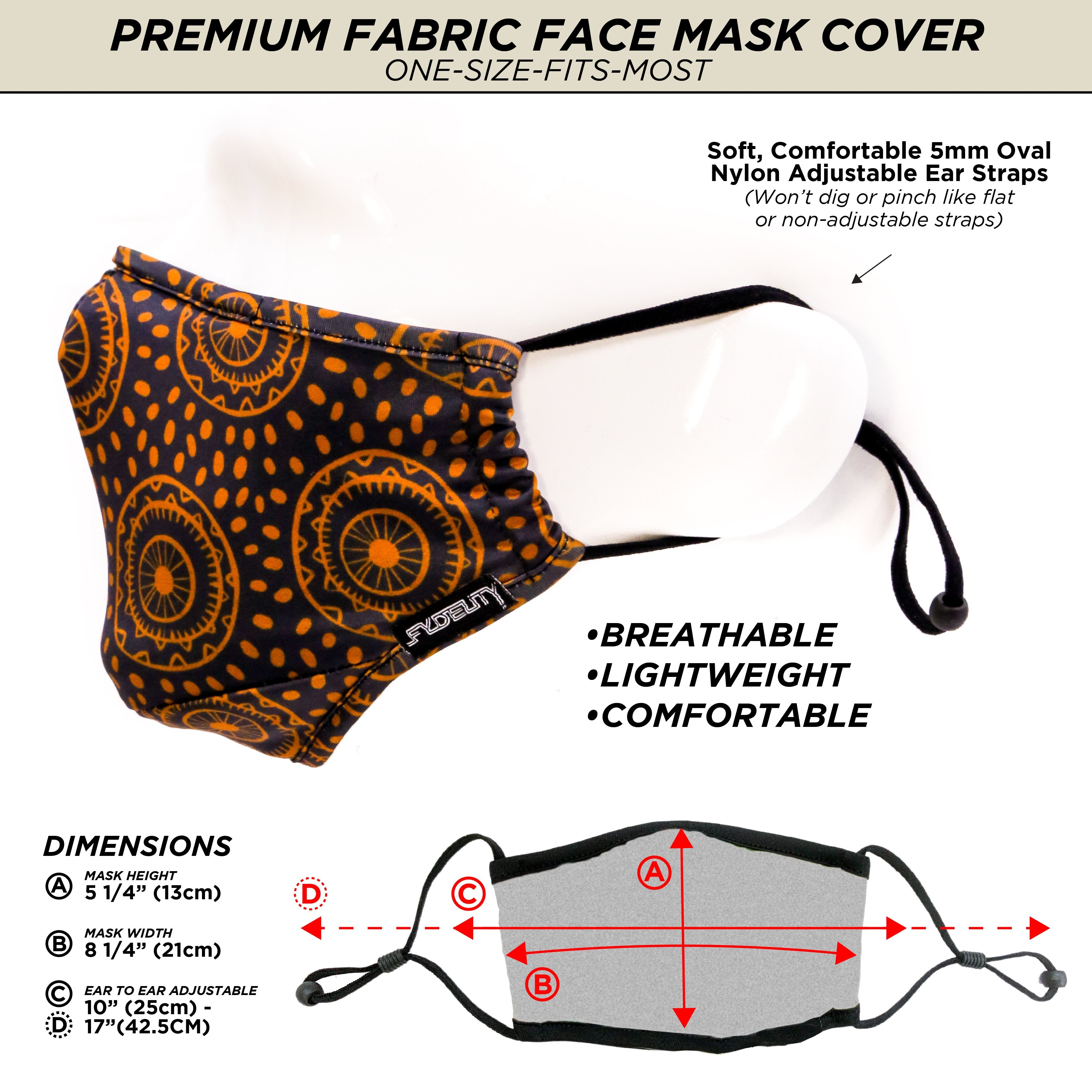 18195: FYDELITY- Premium Protective Fabric Face Cover- Wheels of Life