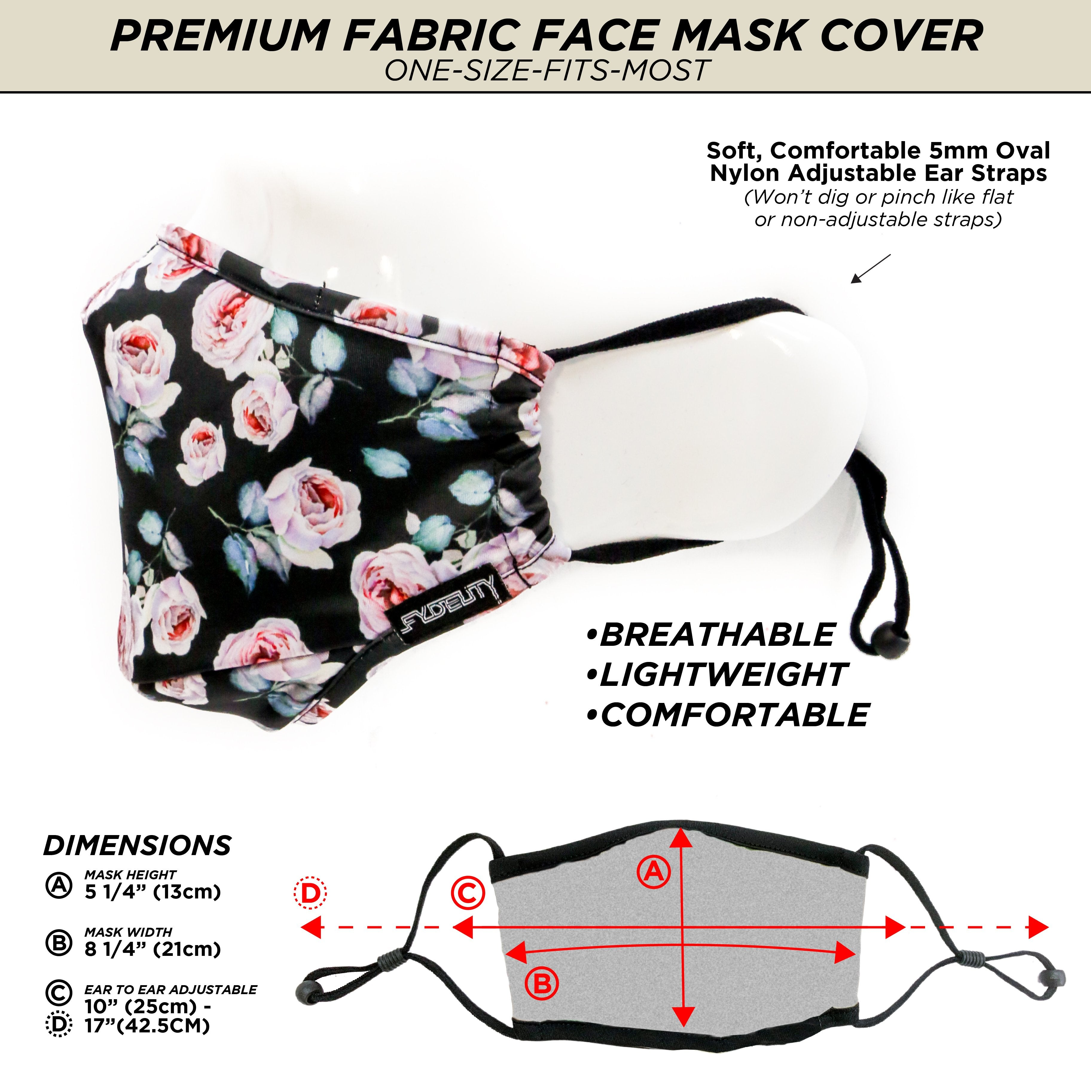 18198: FYDELITY- Premium Protective Fabric Face Cover- Pink Rose