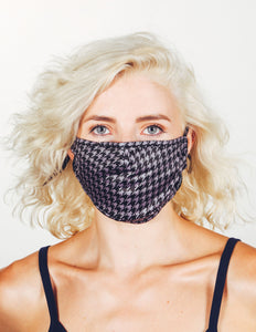 18232: FYDELITY- Premium Fabric Face Covering Mask | HOUNDSTOOTH GREY