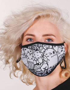 18236: FYDELITY- Premium Fabric Face Covering Mask | TOONTOWN WHITE
