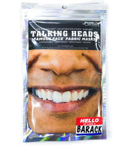 "18408: FYDELITY-Talking Heads Famous Faces Fabric Masks:  ""Hello My Name is BARACK"""