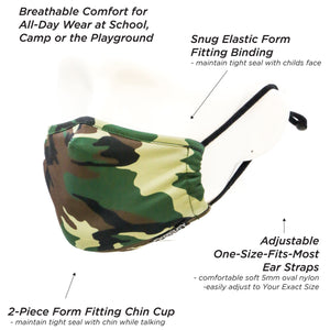 18587: FYDELITY- >KIDS< Premium Fabric Face Covering Mask: Camo