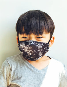 18602: FYDELITY- >KIDS< Premium Fabric Face Covering Mask: Tie Dye Black