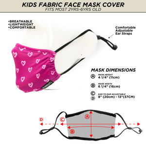 18678: FYDELITY- >KIDS< Premium Fabric Face Covering Mask: I Heart