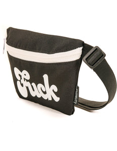 83001: FYDELITY- Ultra-Slim Fanny Pack: WERDS Fuck Black & White