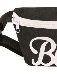 83002: FYDELITY- Ultra-Slim Fanny Pack: WERDS Bitch Black & White