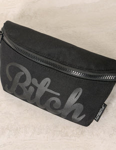 83024: FYDELITY- Ultra-Slim Fanny Pack: WERDS Bitch Black & Black