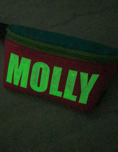 83140: FYDELITY- Ultra-Slim Fanny Pack: WERDS Glow in the Dark MOLLY