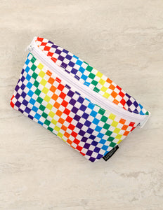 83354: FYDELITY- Ultra-Slim Fanny Pack: PRIDE INDY Check Rainbow