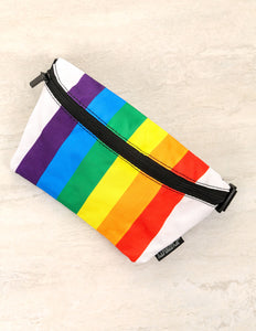 83357: FYDELITY- Ultra-Slim Fanny Pack: PRIDE Rainbow Stripe