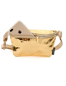 83811: FYDELITY- Ultra-Slim Fanny Pack: LUX MIRROR Gold