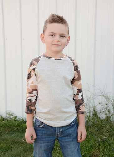 Brown Camo Baseball T