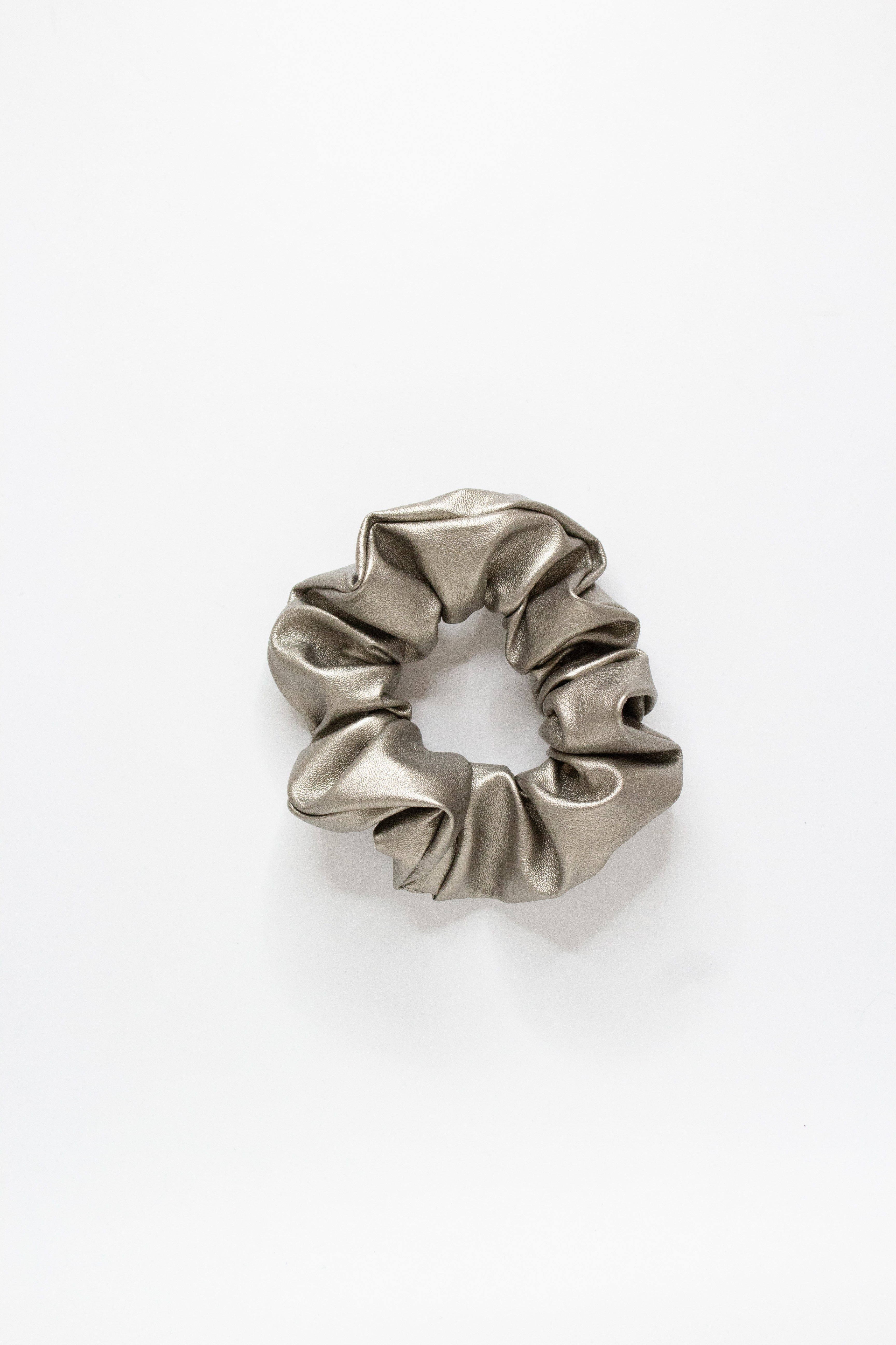 Silver Metallic Scrunchie