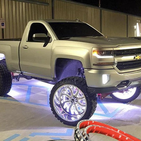 Double-Row Single Color (White) Galaxy Wheel Rings - Headlightleds.com