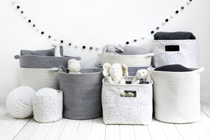 Large Grey Braided Storage Basket - Addie and Harry