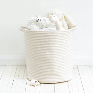 Large Ivory Braided Storage Basket - Addie and Harry