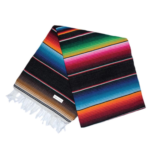 Serape Blanket- Black and Multi Color