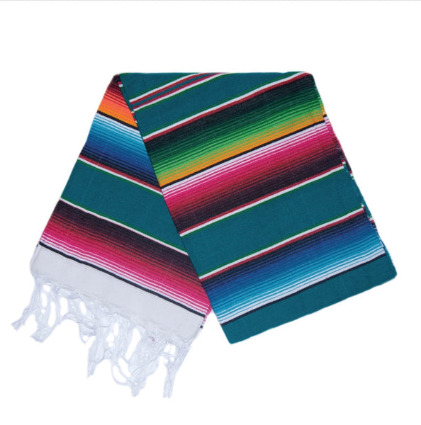 Serape Blanket- Teal and Multi Color