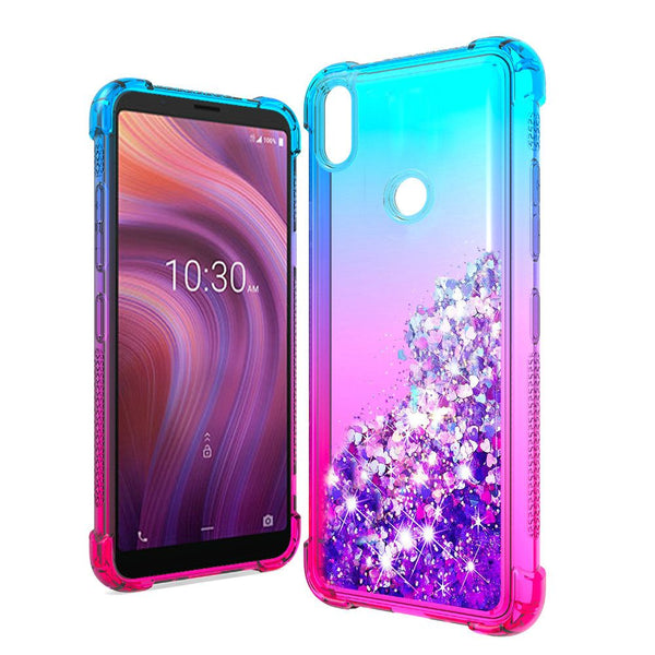 Alcatel 3V (2019) - Premium Liquid Glitter Case - Blue/Hot Pink