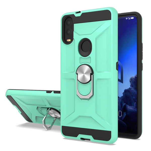 Alcatel 3V (2019) - Premium Robot Ring Magnetic Kickstand Case - Green