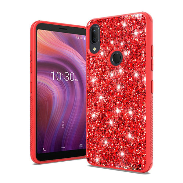 Alcatel 3V (2019) - Premium Glitter Sparkle Case - Red