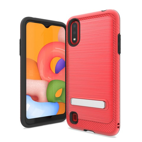 Samsung Galaxy A01 - Premium Magnetic Kickstand Case - Red
