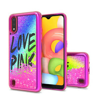 Samsung Galaxy A01 - Premium Design Liquid Glitter Case - Hot Pink
