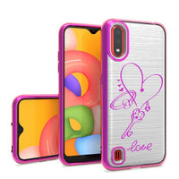 Samsung Galaxy A01 - Premium Metallic Design Case - Purple Love