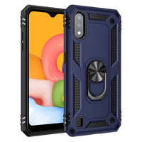 Samsung Galaxy A01 - Premium Ring Magnetic Kickstand Case - Blue
