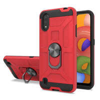 Samsung Galaxy A01 - Premium Robot Ring Magnetic Kickstand Case - Red