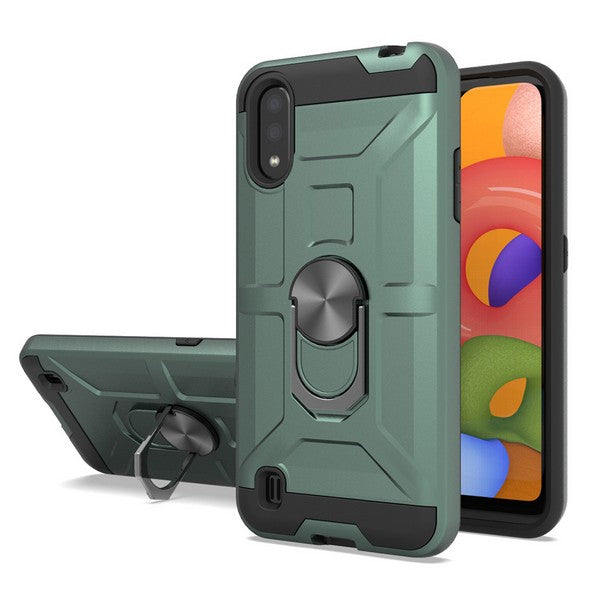 Samsung Galaxy A01 - Premium Robot Ring Magnetic Kickstand Case - Green